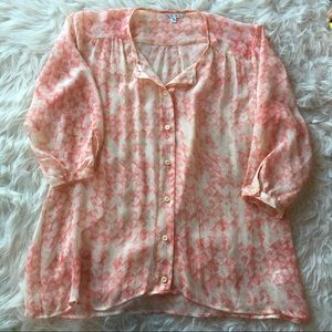 CAbi silk button down blouse top, size small coral